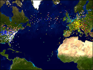 世界で今飛んでいる飛行機が見える、スターアライアンス スクリーンセーバー
