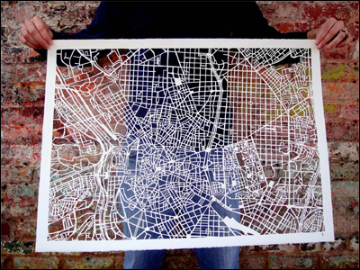 city map prints and hand cut art by studiokmo on Etsy
