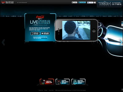 Coke Zero LiveCycle: TRON Home Page