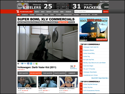 2011 Super Bowl Commercials -- NFL FanHouse