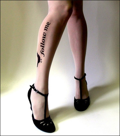 FOLLOW ME twitter tattoo tights
