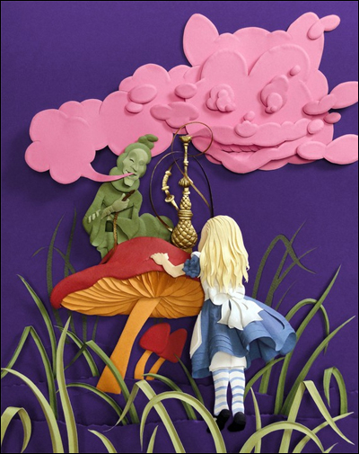 Alice Meets Caterpillar-8inx10in Giclee Print