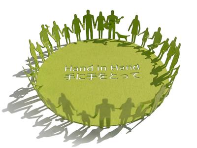 1/100 建築模型用添景セット 東北関東大震災義援金寄付編 「Hand in Hand」 | TERADA MOKEI