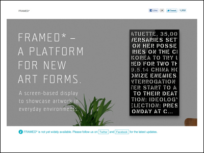 FRAMED* — A Platform for New Art Forms