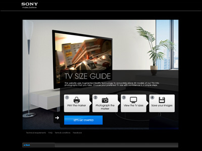 Augmented Reality TV Size Guide - Choose your TV size from : Sony
