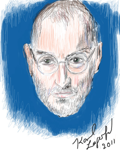Karl Lagerfeld draws Steve Jobs on an iPad at LeWeb '11