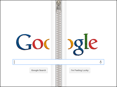 Google ギデオン・サンドバック生誕132周年でファスナー出現
