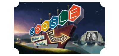 Google Doodle for the 79th Anniversary of the 1st Drive-In Movie Theater