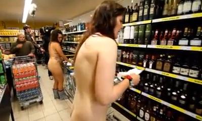 Naked people at supermarket Denmark
