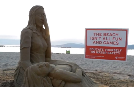 Drowning Prevention Sand Sculpture