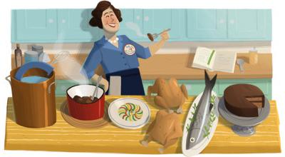 Google アメリカの料理研究家ジュリア・チャイルド生誕100周年