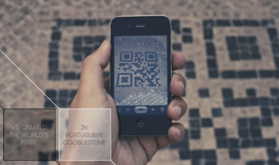 QR CODE MADE WITH PORTUGUESE COBBLESTONE
