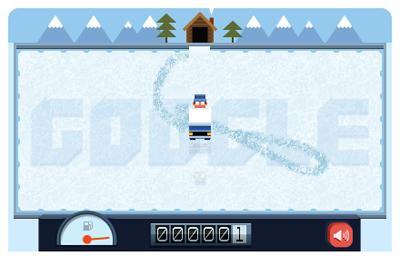Google ロゴが整氷車で氷を綺麗にするゲームに!