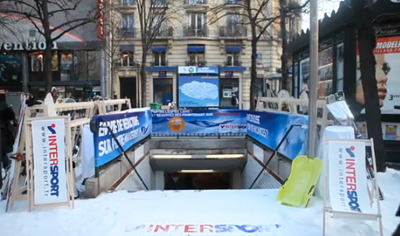 Intersport transforme le métro Convention en station de ski