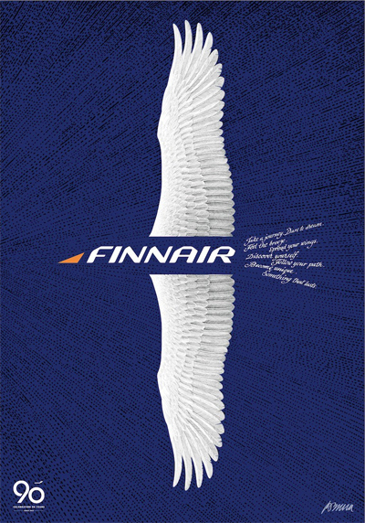 Finnair's 90'th anniversary poster