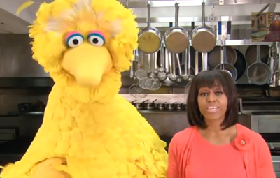 First Lady Michelle Obama and Big Bird Team Up to Help Get Kids Healthy