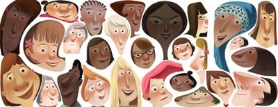 Google 国際女性デー(nternational Women's Day)でいろんな女性の顔のロゴに!