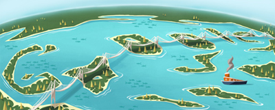 Google 瀬戸大橋開通25周年で瀬戸内海を鳥瞰で見たイラストのロゴに!
