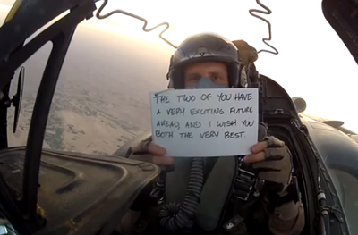 Wedding message from the skies over Afghanistan