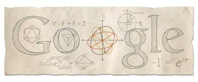 Google オイラーの多面体定理やオイラー角などで有名な、レオンハルト・オイラー生誕306周年ロゴに!