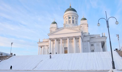 Biking in Wintry Helsinki