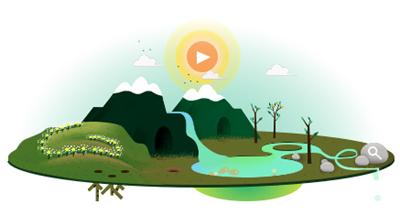 Google アースデイで季節や昼夜がめぐるアニメーションのロゴに!