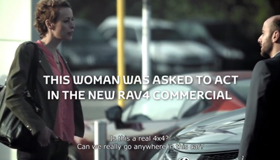 Actress loses it during Toyota RAV4 test-drive