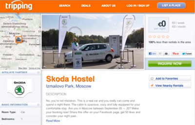 The SKODA Hostel. The first in-car hostel in Moscow