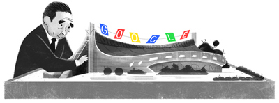 Google 日本を代表する建築家のひとり、丹下健三生誕100周年で国立代々木競技場模型と丹下のイラストロゴに!