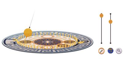 Google レオン・フーコー生誕194周年で、彼が地球の自転を証明するのに用いたフーコーの振り子のロゴに!