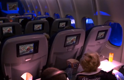 spectacular pre-screening on board of a KLM plane