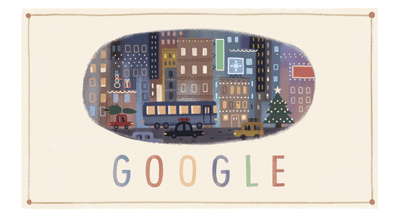 「Happy Holidays from Google!」グーグルロゴがクリスマスの夜の街を描いたイラストに!