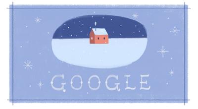 「Happy Holidays from Google!」グーグルロゴが雪原に建つ小さな家のイラストに!