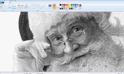Vintage Microsoft Paint Art - Santa Claus Speed Painting