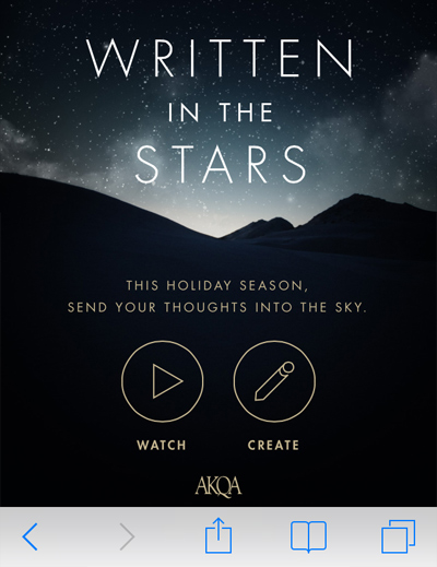 Written In The Stars, presented by AKQA