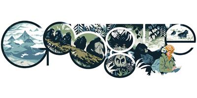 Google ゴリラの調査研究で知られる動物学者ダイアン・フォッシー生誕82周年記念ロゴに!