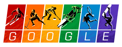 Google ソチオリンピック開幕で、スポーツ選手が躍動するロゴに!