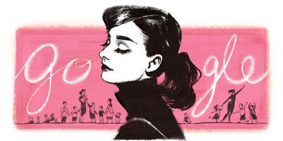 Google オードリー・ヘプバーン生誕85周年のイラストロゴに!