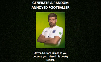 GENERATE A RANDOM ANNOYED FOOTBALLER