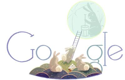Google 中秋の名月で月にはしごを掛けるウサギのロゴに!