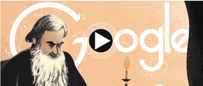 Google ロシアの文豪レフ・トルストイ生誕186周年を記念したスライドロゴに!