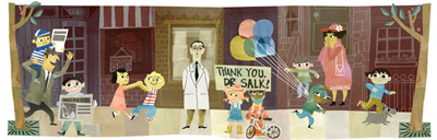 Google ポリオワクチン開発者ジョナス・ソーク生誕100周年記念ロゴに!