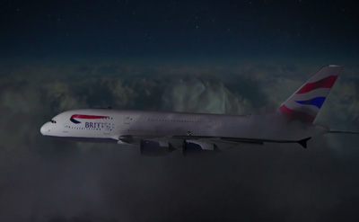 British Airways A380 transformed with breath-taking 4D projection