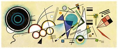 Google ワシリー・カンディンスキー生誕148周年を記念した抽象絵画風ロゴに!