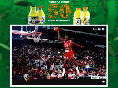 50 YEARS OF GATORADE. 50 MEMORABLE MOMENTS.