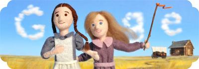Google ローラ・インガルス・ワイルダー生誕148周年で大草原の小さな家のフエルト人形ロゴに!