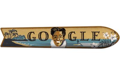 Google 伝説のサーファーでスイマーの、デューク・カハナモク生誕125周年記念ロゴに!