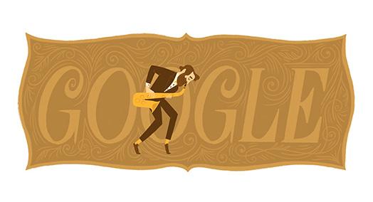 Google サクソフォーン生みの親アドルフ・サックス生誕201周年記念ロゴに!