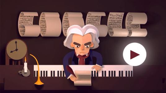 Google ルートヴィヒ・ヴァン・ベートーヴェン生誕245周年記念で楽譜をつなげるミニゲームロゴに!