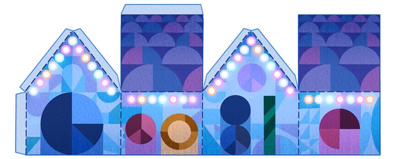 Google Holidays 2015(2日目)は4種の家のペーパークラフトのロゴに!